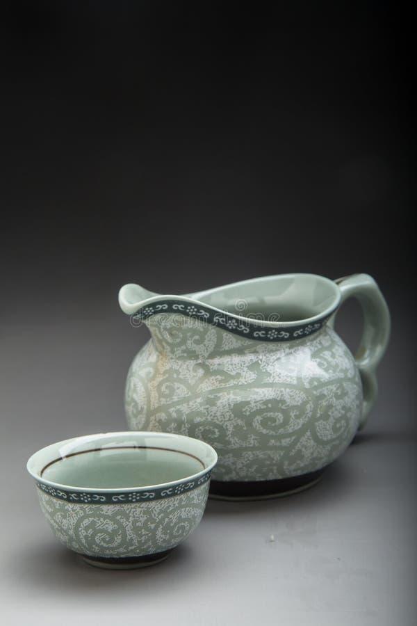 Chiński Seledynowy porcelany herbaty set zdjęcie stock