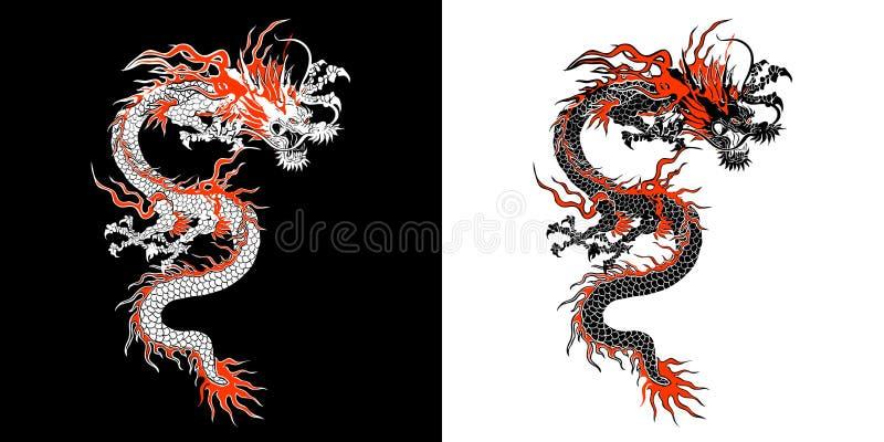 Chiński smok matrycuje ilustracji
