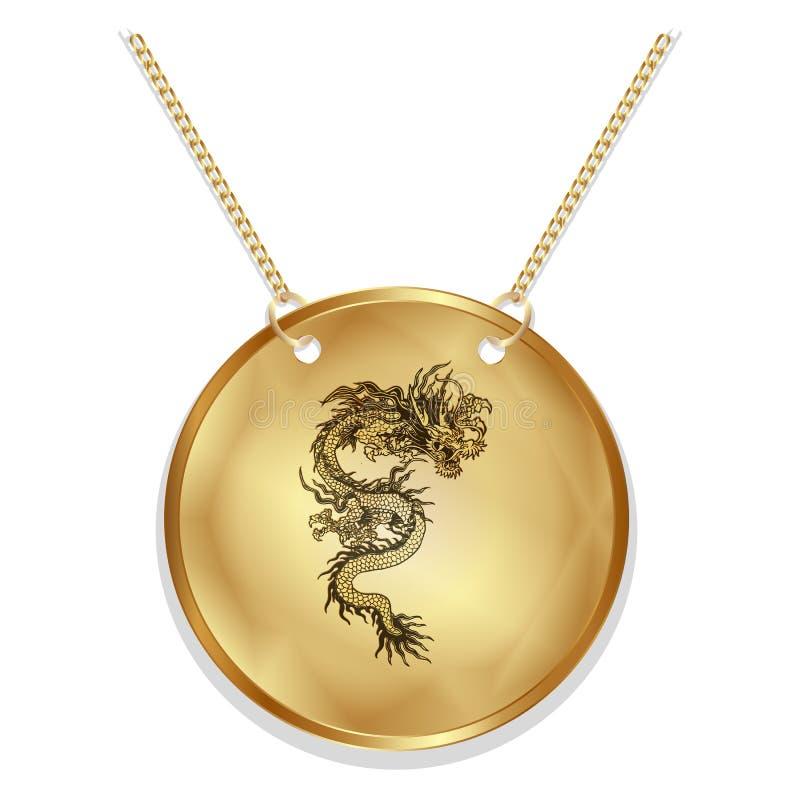 Chiński smok na złocistym dysku ilustracja wektor