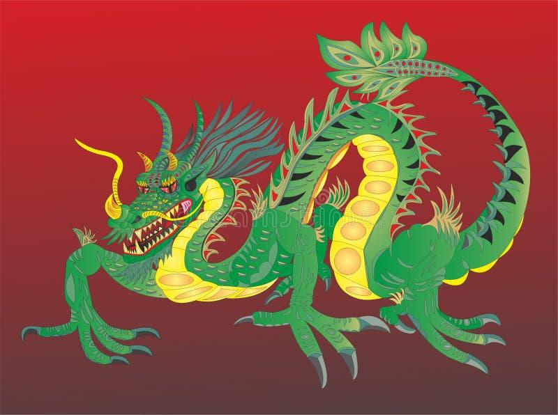 Chiński smok z dolarem amerykańskim ilustracja wektor
