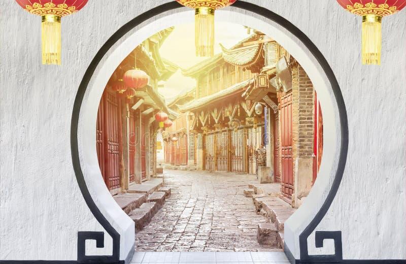 Chiński stary miasteczko w ranku, Lijiang, Chiny ilustracja wektor
