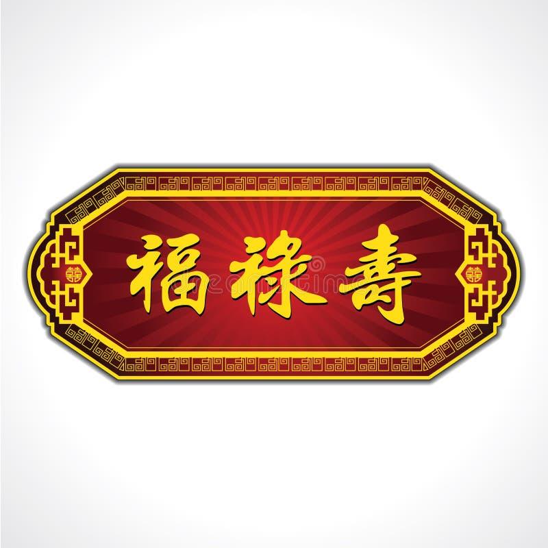 Chiński szczęście charakterów talerz Błogosławieństwa, dobrobyt i długowieczność, royalty ilustracja