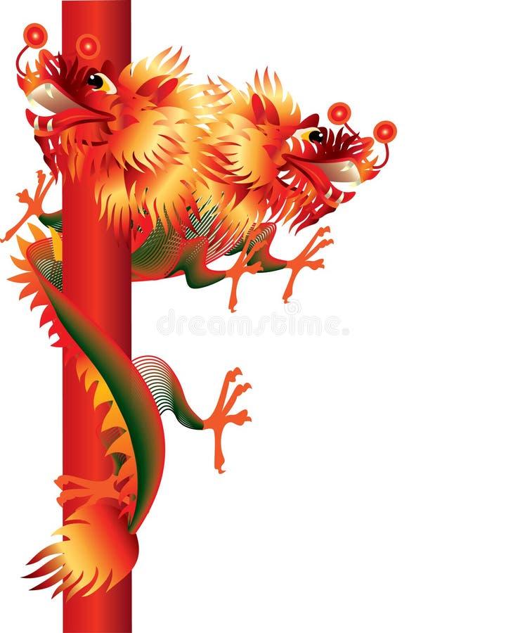 chiński tło smok przewodził biel dwa ilustracji