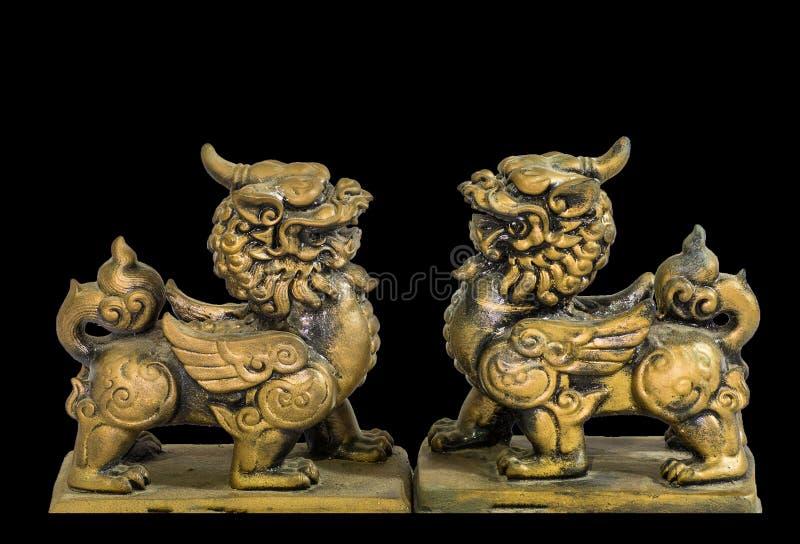 Chiński talizman figurki czerni tło fotografia royalty free