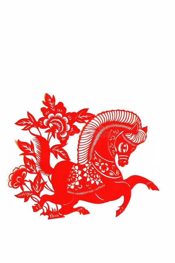 chiński tnący konia papieru zodiak obraz royalty free