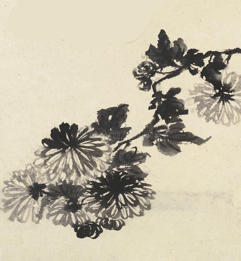 Chiński tradycyjny atramentu i kwiatu obraz zdjęcie stock