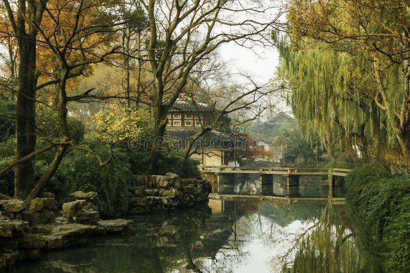 Chiński tradycyjny ogród przy Suzhou w Chiny zdjęcie royalty free