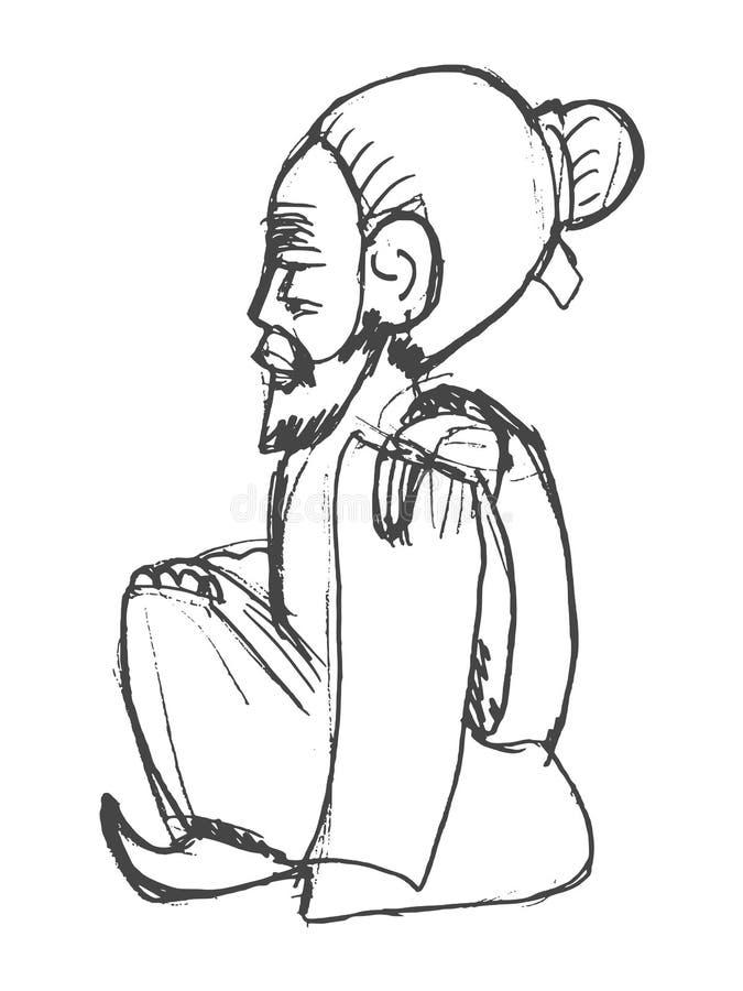 Chiński wiseman, symbolu taoism royalty ilustracja