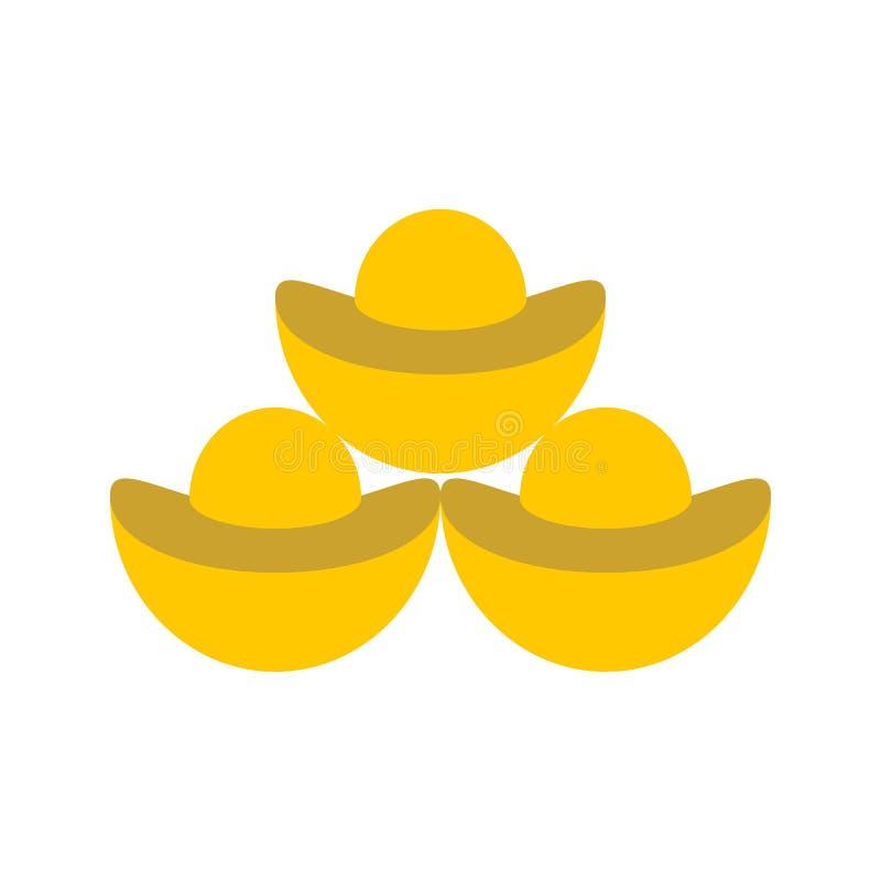 Chiński złocisty ingot wektor, Chińska księżycowa nowego roku mieszkania ikona ilustracja wektor