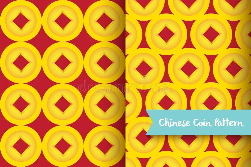 Chiński złoty moneta wzór ilustracji