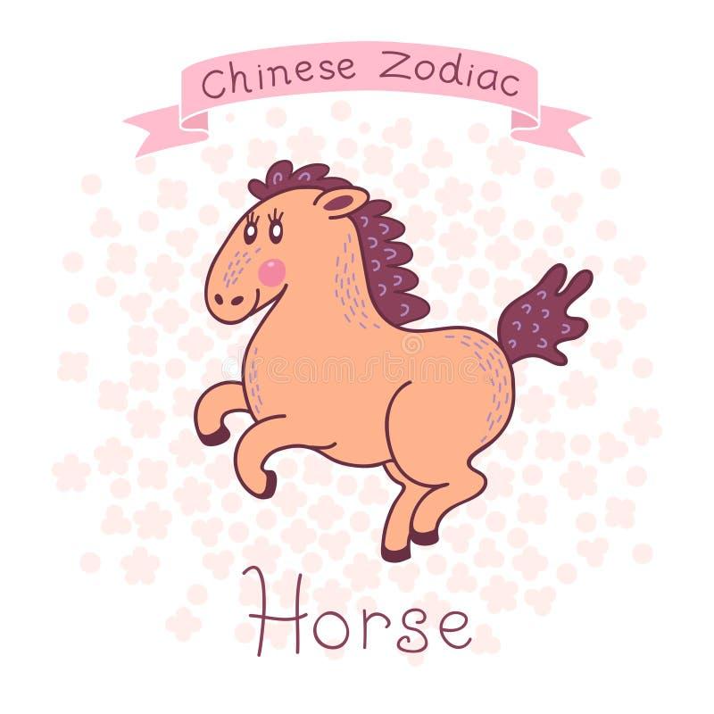 Chiński zodiak - koń royalty ilustracja