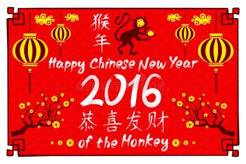 Chiński zodiak: małpa Przekład mały tekst: 2016 rok małpa ilustracji