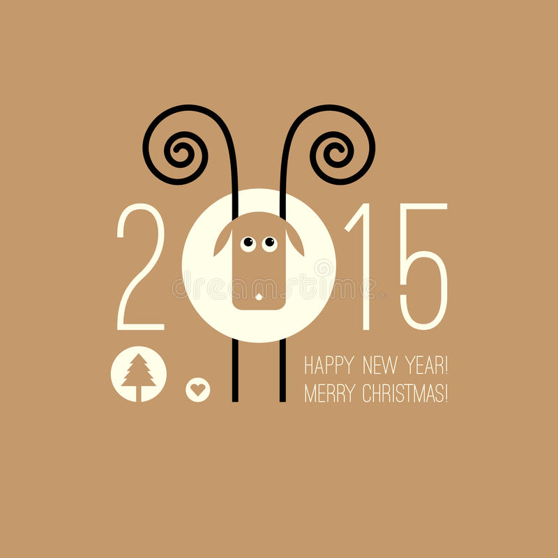 Chiński zodiak 2015 - rok cakle (baran, kózka royalty ilustracja