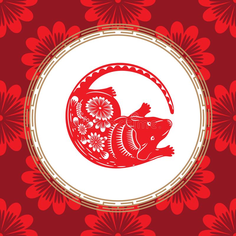 Chiński zodiaka symbol rok szczur Czerwony szczur z białym ornamentem ilustracja wektor