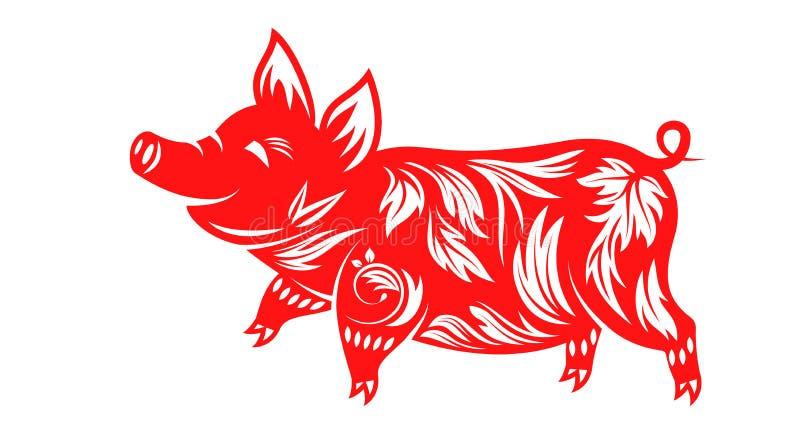 Chiński zodiaka znaka rok świnia, Szczęśliwy nowy rok 2019 ilustracja wektor