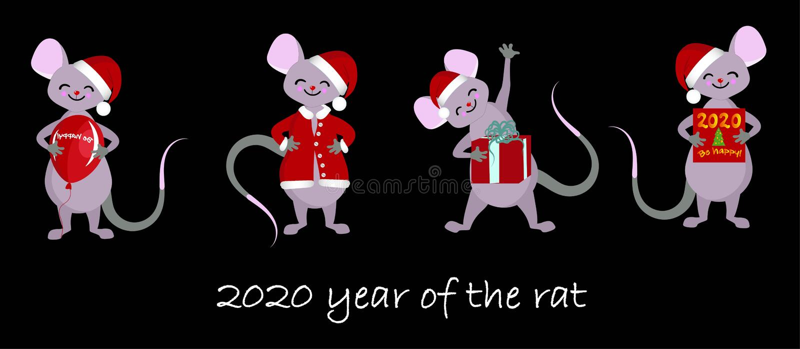 Chiński zodiaka znaka rok szczur, majchery dla dziecko nowego roku Szczęśliwego Chińskiego 2020 szczura ilustracji