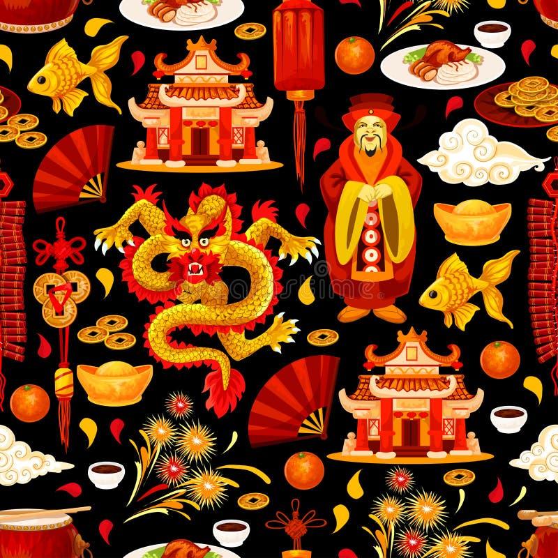 Chińskich Księżycowych nowy rok wakacji bezszwowy wzór ilustracji