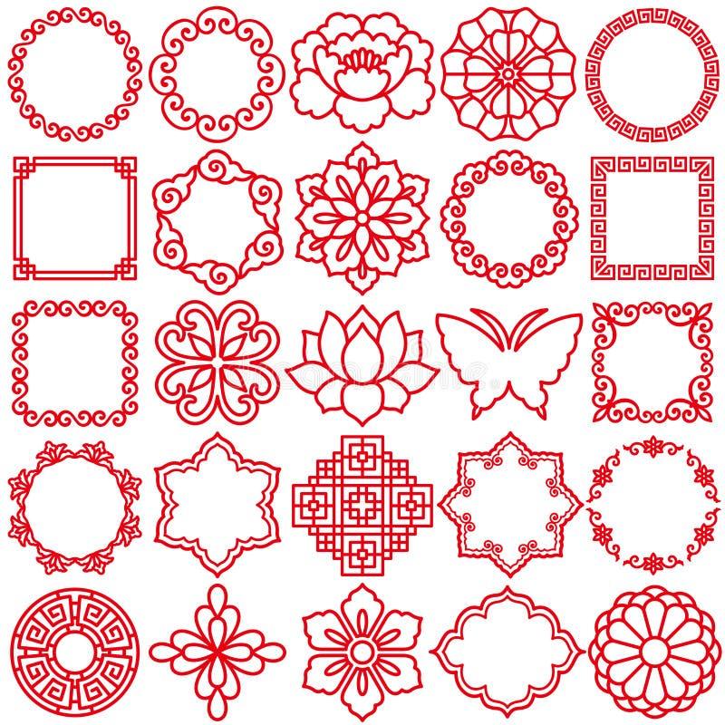 chińskie dekoracyjne ikony royalty ilustracja