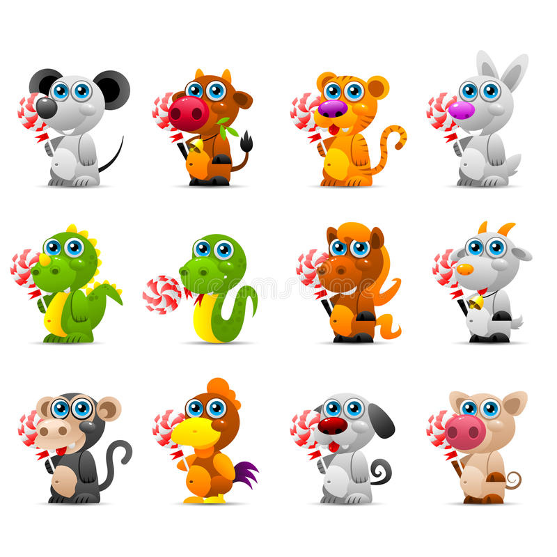 Chińskie horoskopu zwierzęcia zabawki z cukrowym cukierkiem ilustracja wektor