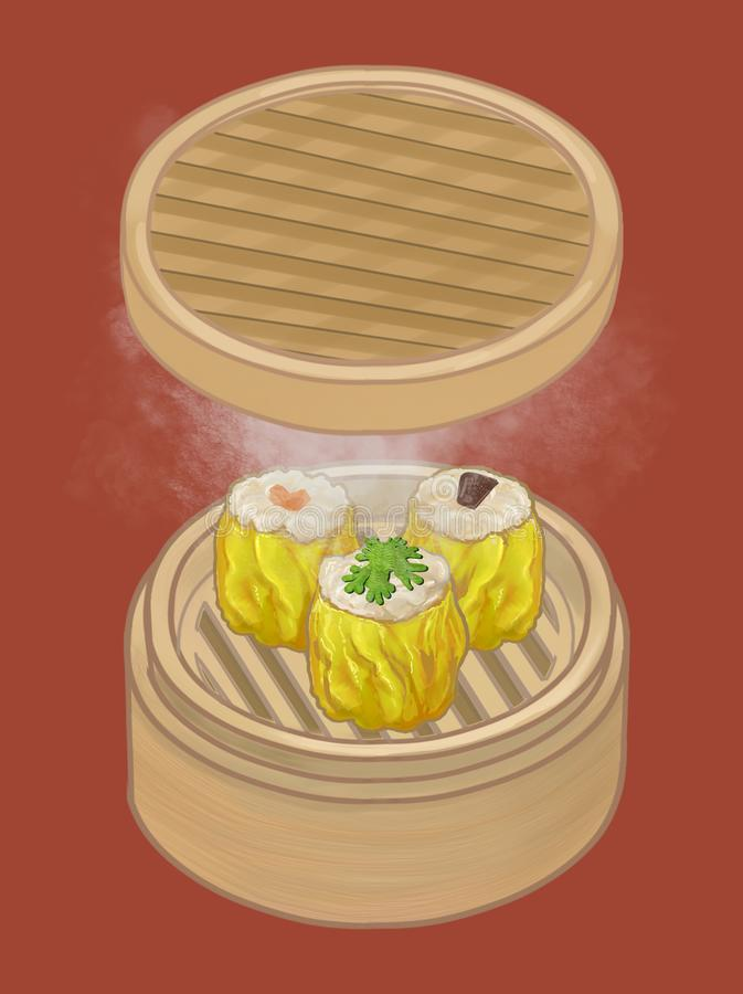 Chińskie kluchy w bambusowej parostatek ilustraci royalty ilustracja