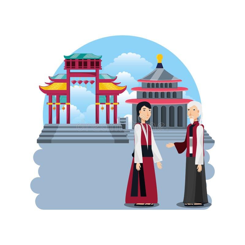 Chińskie kultury architektury ikony ilustracji