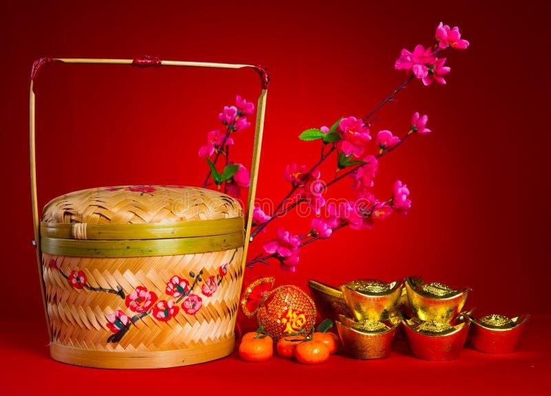 Chińskie nowego roku festiwalu dekoracje, ang pow lub czerwieni paczka, i zdjęcia stock