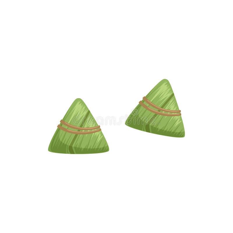 Chińskie ryżowe kluchy z bambusowym liściem, symbol Chińskiego tradycyjnego Łódkowatego festiwalu wektorowa ilustracja na bielu ilustracja wektor