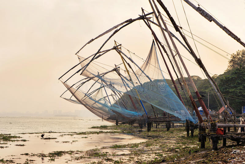Chińskie sieci rybackie w forcie Kochi fotografia royalty free