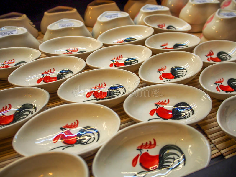 Chińskiego Cutlery spodeczka Ceramiczny puchar zdjęcie stock