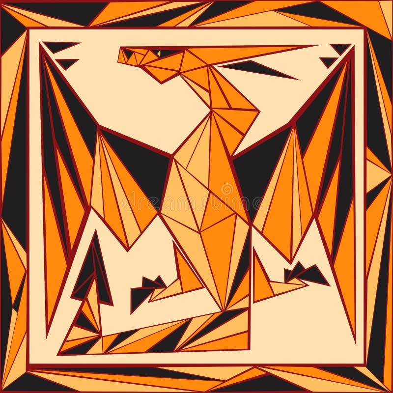 Chińskiego horoskopu stylizowany witraż - smok ilustracji