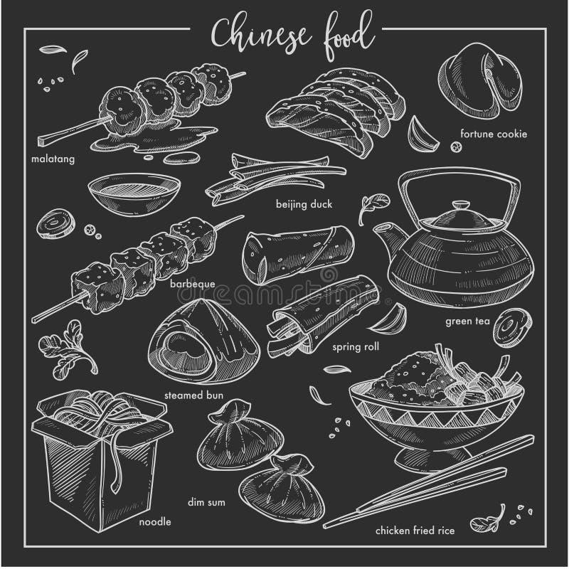 Chińskiego jedzenie kredy nakreślenia krajowa kuchnia Chiny ilustracji
