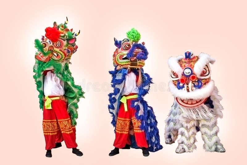 Chińskiego lwa kostiumowego tana nowego roku Chiński świętowanie zdjęcie stock