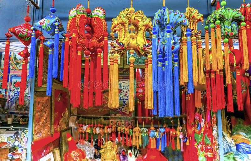 Chińskiego nowego roku dekoracj Panjuan Jedwabniczy pchli targ Decoratio fotografia stock
