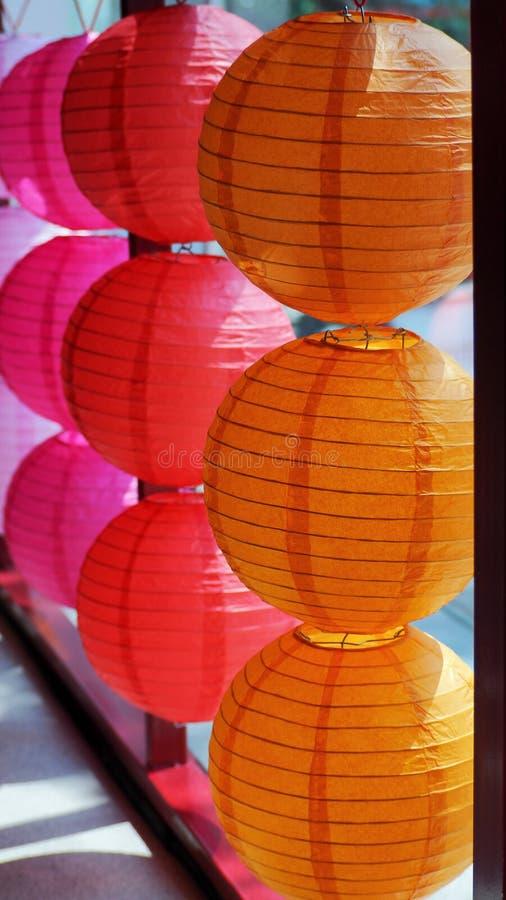 Chińskiego nowego roku kolorowi lampiony sunshiny fotografia stock