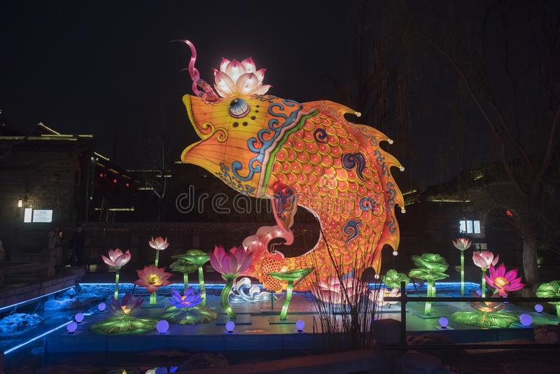 Chińskiego nowego roku Latarniowy festiwal, tradycyjny karpiowy lotosu styl fotografia royalty free