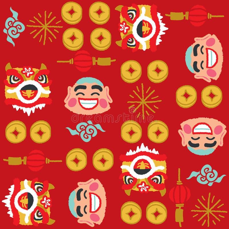 Chińskiego nowego roku lwa wektoru Dancingowy wzór ilustracji