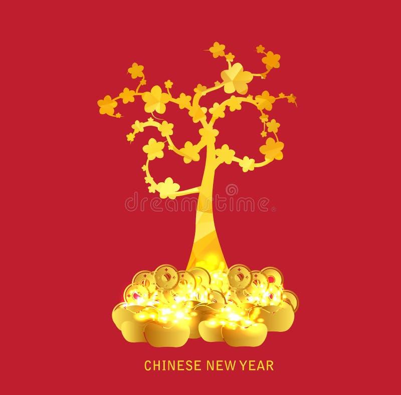 Chińskiego nowego roku złota moneta i złota drzewa tło ilustracja wektor