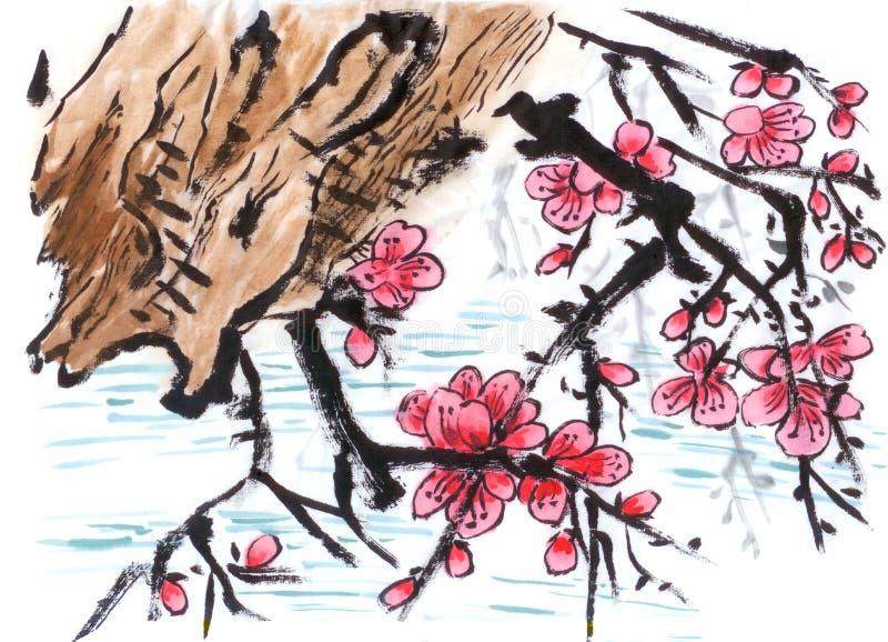 Chińskiego obrazu nadrzeczny Śliwkowy kwiat ilustracji