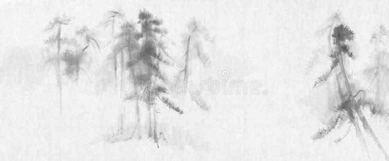 Chińskiego obrazu sosen krajobraz ilustracja wektor