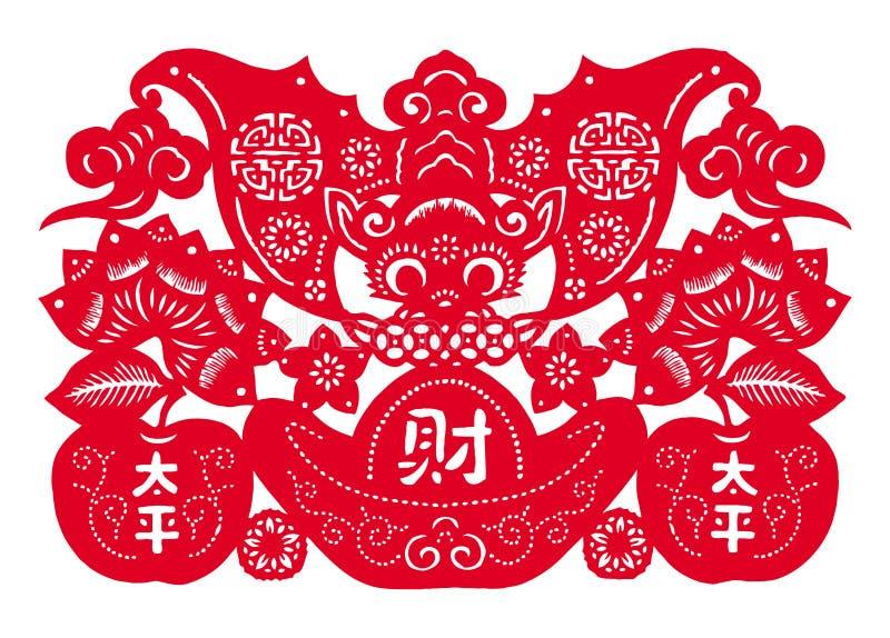 Chińskiego papieru rozcięcie - target913_0_ pieniądze nietoperz ilustracji