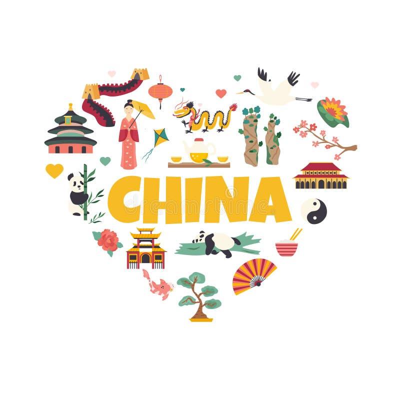Chińskiego punkt zwrotny architektury symbolu Sławny miejsce royalty ilustracja