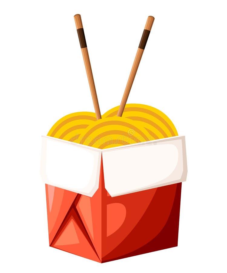 Chińskiego restauracyjnego wp8lywy jedzenia czerwony pudełko z klusek i kijów ilustracją odizolowywającą na białej tło stronie in ilustracji
