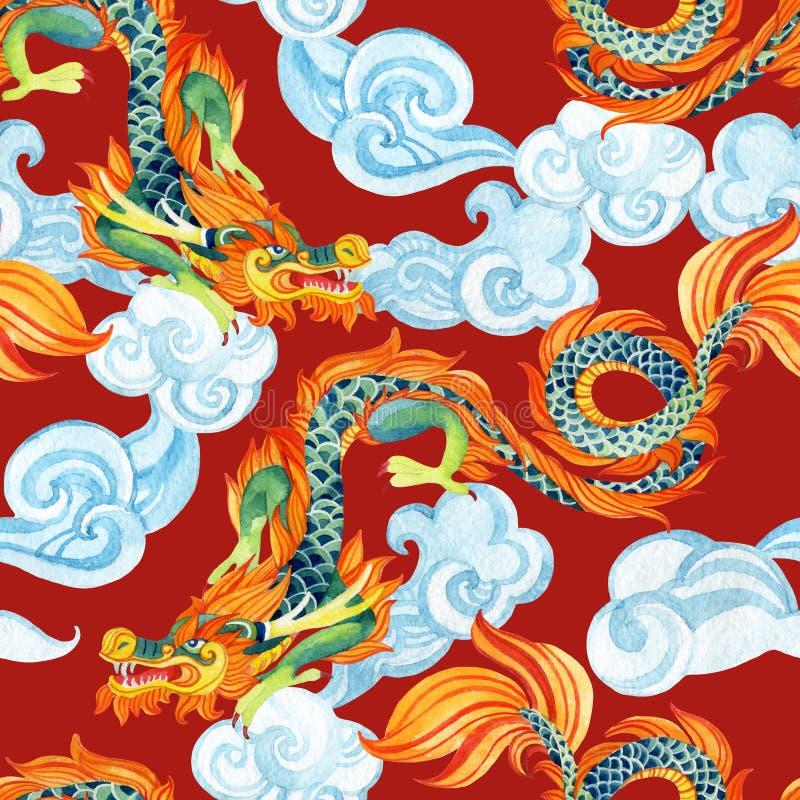 Chińskiego smoka bezszwowy wzór Azjatycka smok ilustracja royalty ilustracja
