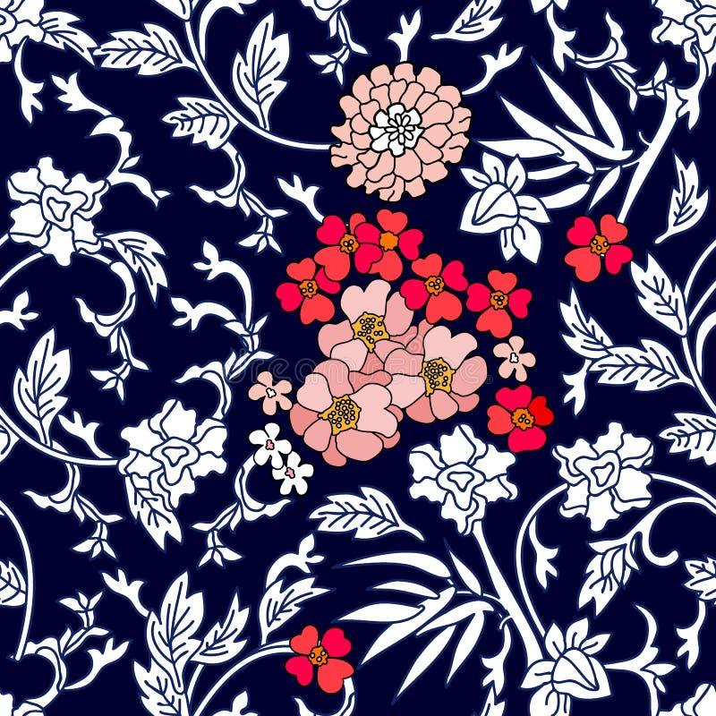 Chińskiego stylu błękitny i biały ornament ilustracji