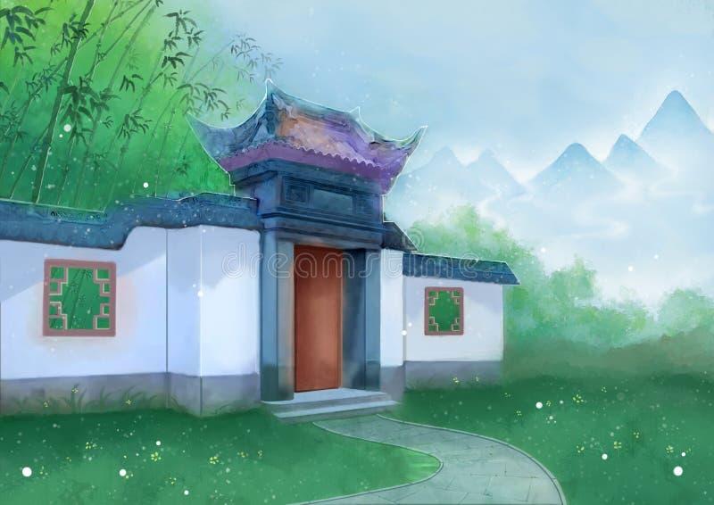 Chińskiego stylu budynku wiosny góry bambus royalty ilustracja