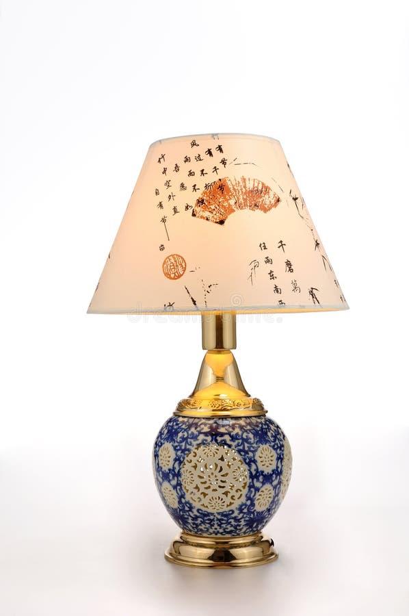 Chińskiego stylu ceramiczna stołowa lampa zdjęcia stock