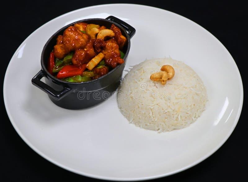Chińskiego stylu kung pao kurczak z ryż obraz royalty free