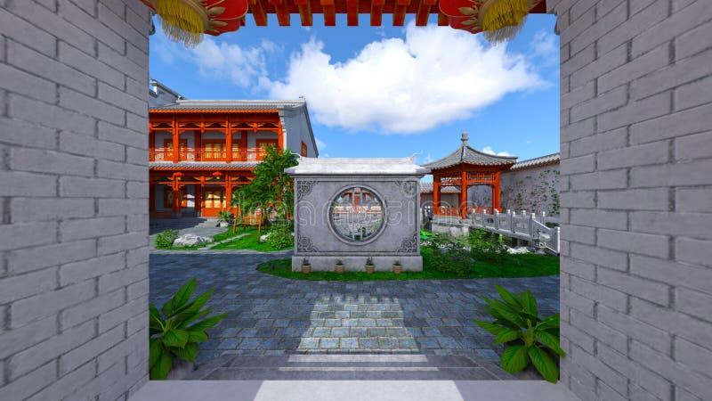 Chińskiego stylu podwórze i siedziba ilustracja wektor