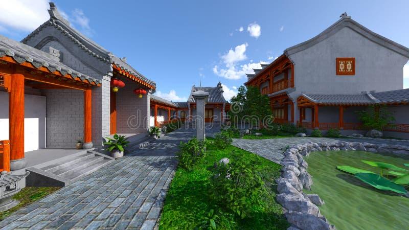 Chińskiego stylu podwórze i siedziba obrazy royalty free