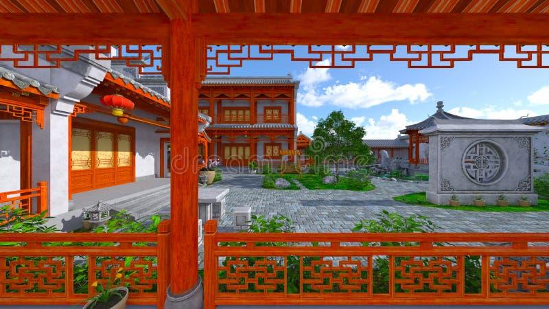 Chińskiego stylu podwórze i siedziba zdjęcie royalty free